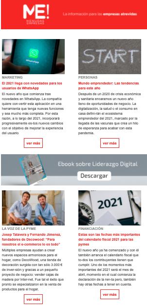 Menudas Empresas realiza una newsletter semanal con información útil para empresas y autónomos.
