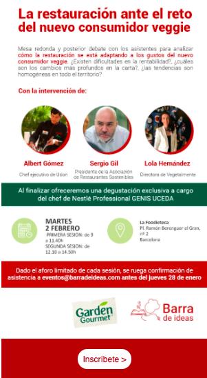 Ejemplo de newsletter de eventos, organizada por Barra de Ideas